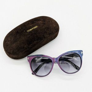 Tom Ford Purple Blue Saskia Cat Eye Sunglasses